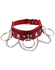 #N/A PU Leather Choker Necklace Chain Collar Goth Punk Rock Necklace Decor