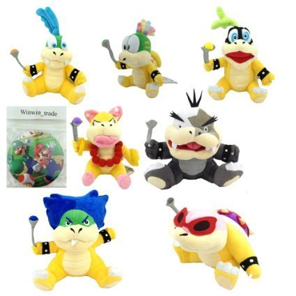 FiraDesign Set of 7 Mario Koopalings Larry Iggy Lemmy Roy Ludwig Wendy Morton Plush Toy (Mario And Luigi Superstar Saga All Bosses)