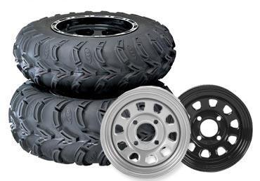 ITP Mud Lite AT, Delta Steel, Tire/Wheel Kit - 25x8x12 - Black 44830L