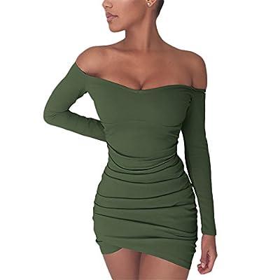 Chemenwin Women's Sexy Off Shoulder Long Sleeve Club Bodycon Tight Short Mini Tunic Dress