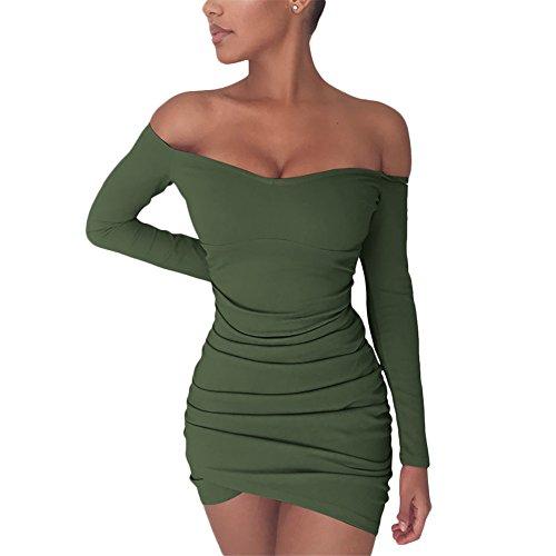 Tight Green Dress (Women's Sexy Off Shoulder Long Sleeve Club Bodycon Tight Short Mini Tunic Dress (Medium, Army Green))