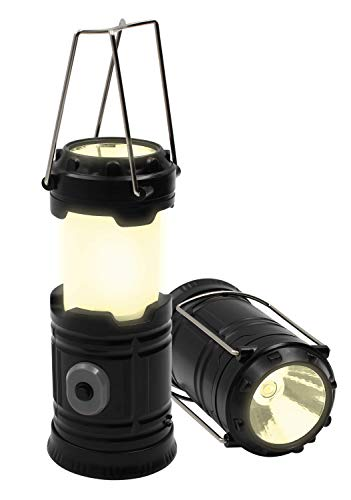 Royal Brands LED Collapsible Light Multi-Function Mini Camping Lantern, Portable Lantern Flashlights, Fishing Torch, Led+Emergency Light Battery Operated Powered Camp Lights (Black)