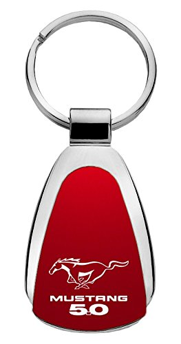 Ford Mustang 5.0 Teardrop Shaped Key Chain Red