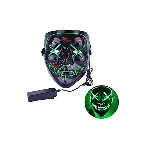 LED Light Mask, The Purge Election Year Great Festival Costume Cosplay Led Mask El Wire Light Up Mask for Festival Parties (Green)]()