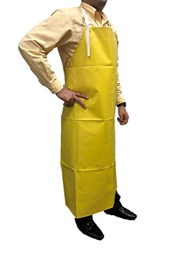 (SAFE HANDLER Heavy Duty Nitrile Industrial Bib Apron, Chemical and Oil Resistant (Yellow))