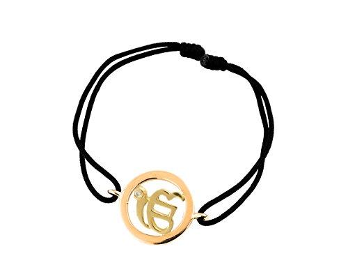 Ik Onkar 14mm Gold Bracelet in with single diamond for New Born Baby Gift on Adjustable Nylon (Diamond White Gold Baby Bracelets)