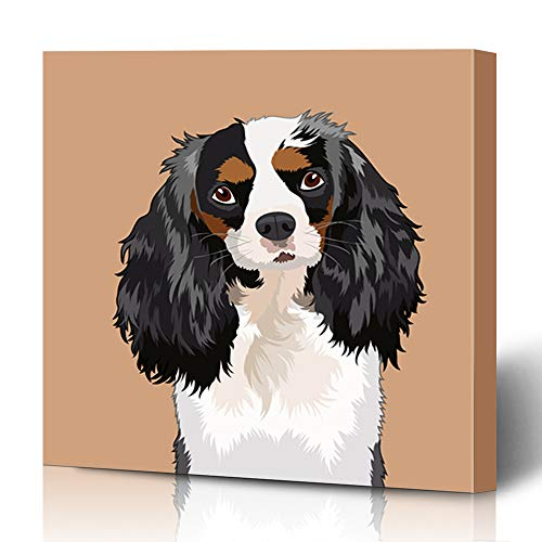 - Ahawoso Canvas Prints Wall Art 12x12 Inches Curly Cavalier King Charles Spaniel Canine Buddy Dog Abstract Pet Salon Child Decor for Living Room Office Bedroom