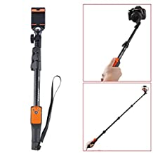 Geekercity 2015 New Version 180 Degree Universal Durable Portable Extendable Handheld Selfie Stick Monopod Pole with Adjustable Telescopic Anti-slip Phone Mount Holder Rechargeable Built-in Bluetooth Wireless Remote Button Control Mirror for iPhone 6 Plus/6/5/5S/5C/4/4S, Samsung Galaxy S6/S6 Edge/S5/S4/S3/Note 4/3/2, LG, Lenovo, Sony, Huawei, HTC and Other Android 4.3+ IOS 5.0+ Smartphones
