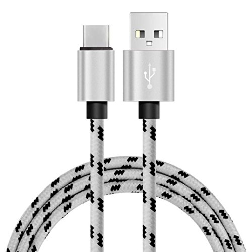 Price comparison product image For Oneplus 3T/Google Pixel XL/ZTE Zmax Pro Z981,Sunfei 2M/3M 2A USB-C USB 3.1 Type C Data&Sync faster Charger Cable (2M, Silver)
