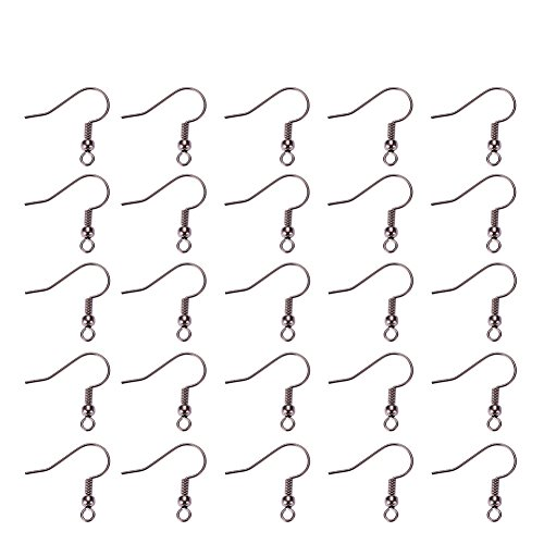 Pandahall 100PCS (50 pairs) Gunmetal Brass Earring Hooks for Jewelry Making Earring Findings, - Earwire Metal