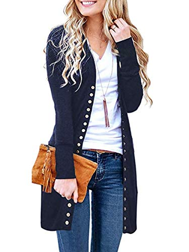 Famulily Cardigans for Women Long Sleeve Fall Cozy Knitted Snap Button Caridgan Sweater Navy S ()