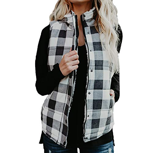 htweight Quilted Padded Vest Plaid Stand Collar Zip Up Gilet Buffalo Elbow Patch Draped Sleeveless Cardigan (Medium, Black) ()