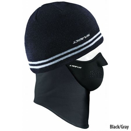 Seirus Innovation Quick Combo Knit Stripe Beanie Cold Weather Hat, Black/Gray, One Size