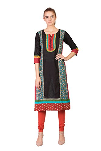 SABHYATA Women Kurta Designer Ethnic Long Dress Casual Tunic Kurti for Women Ladies Partywear Material 100% Pure Cotton Neck Type Round Neck Medium Black