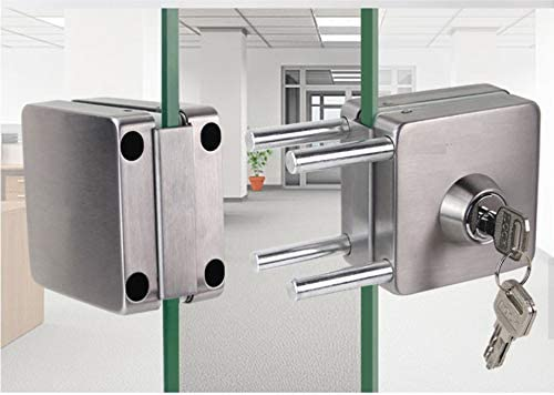 NUZAMAS Cerradura de puerta de cristal doble de acero inoxidable 201, acabado cepillado cuadrado, ambos lados abiertos, sin marco, para vidrio de 10-12 mm de grosor, para casa, oficina, muebles: Amazon.es: Bricolaje
