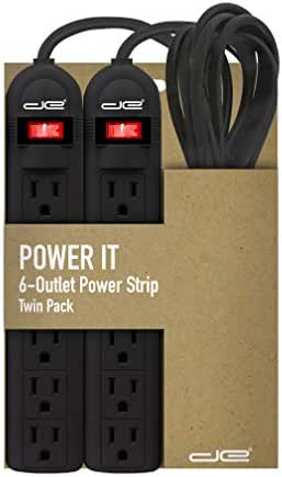 Digital Energy 2-Pack 6 Outlet Power Strip with 3 Foot Extension Cord, Black