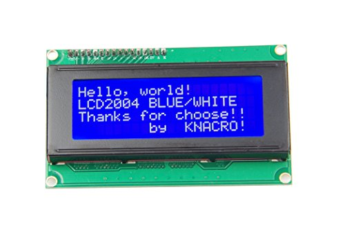 KNACRO IIC I2C TWI LCD2004 Serial Blue Backlight LCD Module for Arduino UNO R3 MEGA2560 20 X 4, 2004 White Letters on Blue Display