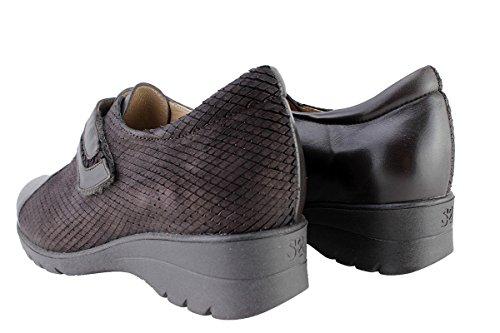 Donne Di Conforto Scarpa In Pelle Piesanto 175.962 Scarpa Velcro Comodamente Unampia Caoba (marrone)