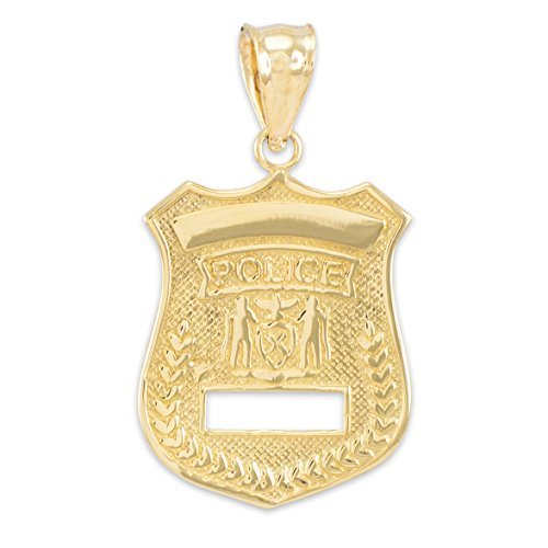 American Heroes Solid 14k Gold Police Badge Charm Pendant