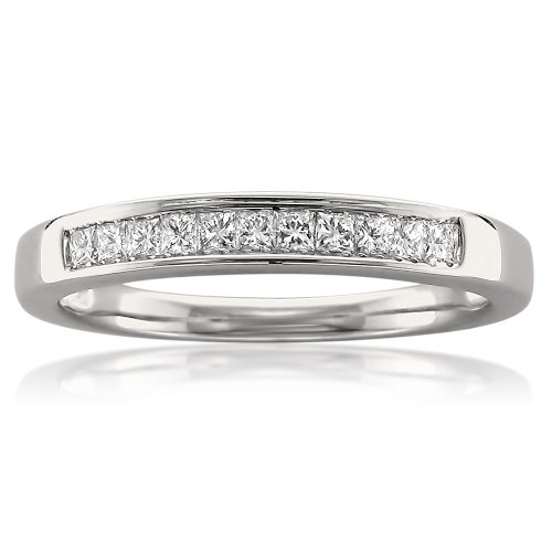 La4ve Diamonds 14k White Gold Princess-Cut Diamond 11-Stone Bridal Wedding Band Ring (1/4 cttw, J-K, SI1-SI2), Size 7 (Diamond Princess Cut Mens Ring)
