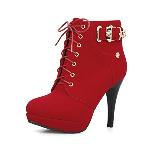 and Women's with Bandage AmoonyFashion Platform Boots Toe Round Heels Red Closed High Toe Oaavdq