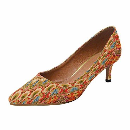 InterestPrint Womens Low Kitten Heel Pointed Toe Dress Pump Shoes Kaleidoscope Flowers Background Multi 1 TFEl9LFyh