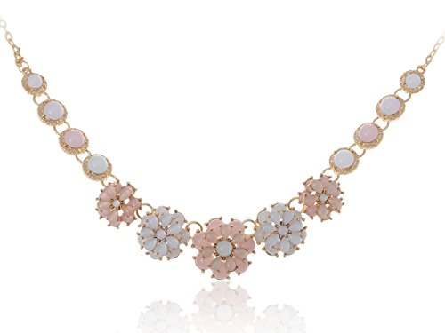 Alilang Golden Tone Floral Spring Pastel White Pink Beaded Flower Chain Fashion Necklace