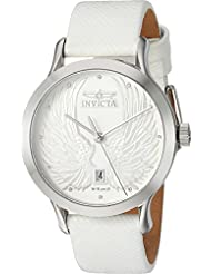 Invicta Womens Angel Quartz Stainless Steel and Leather Dress Watch, Color:White (Model: 23182)
