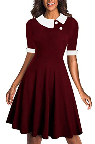Drimmaks Women's Short Sleeve Peter Pan Collar Buttons Swing A-Line Party Casual Skater Dress (Wine Red_028, -