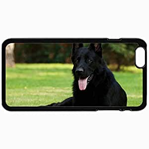 Customized Cellphone Case Back Cover For iPhone 6, Protective Hardshell Case Personalized Black Shepherd German Shepherd Grass Sitting Dog Black