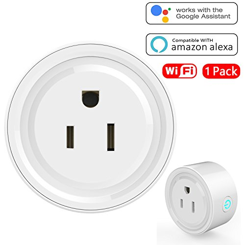 WiFi Mini Smart Plug, 100-240V, Wireless Smart Outlet Socket No Hub Required, Timing Function Control your Devices Anywhere, Voice Control with Alexa, Overload Protection, 1 PCS, LESS SPACE NEEDED (Bluetooth Plug)
