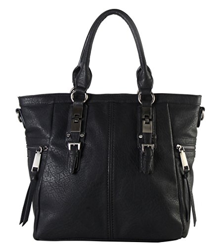 diophy-gun-metal-double-side-pockets-casual-tote-handbag-cz-3723-black