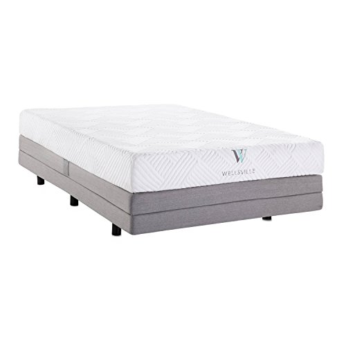 WELLSVILLE Luxury Temperature Control Gel Memory Foam Mattress - CertiPUR-US Certified Twin Grey/White