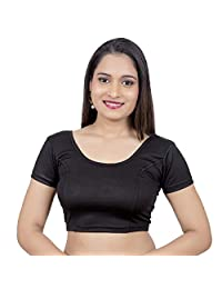 Rinkoo Neckbook Womens Designer Lycra Stretchable Readymade Saree Blouse