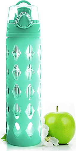 20 oz Glass Water Bottle Fruit Infuser with Silicone Sleeve - Perfect as Yoga Water Bottle for Hiking Gym or any Sports - BPA-Free Fruit Infused Water Bottle with Flip Top (Turquoise) (Glasses Water Turquoise)
