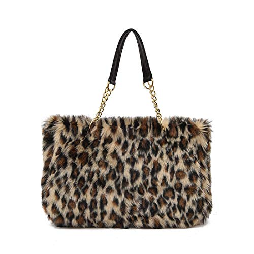 Women's shoulder HandBag Faux Fur Clutch Tote Hobo Bag Big Purse Wallet (Leopard print)