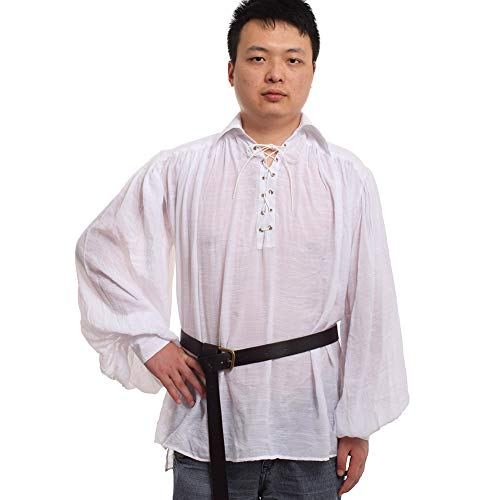 (GRACEART Medieval Poet's Pirate Shirt Renaissance Costume with Belt White XS)