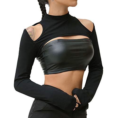 Velius Womens Sexy Mesh Fishnet Hollow Out Long Sleeve Crop Top Hooded Shirts (Medium, Black01)