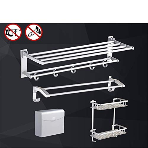 Four-piece Set C BAIF TowelRackQX Bathroom Shelf,Punch-Free Bathroom Bathroom Shelf Space Aluminum Bathroom Hardware Pendant Set Five-Piece C