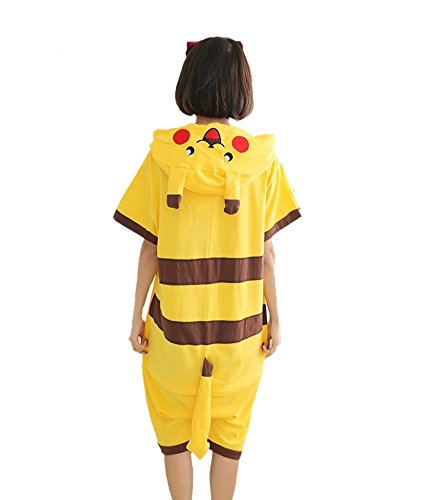 Yimidear Unisex Pikachu Costume Summer Cute Cartoon Cotton Pajamas Animal Onesie,Pikachu,Large by Yimidear (Image #3)