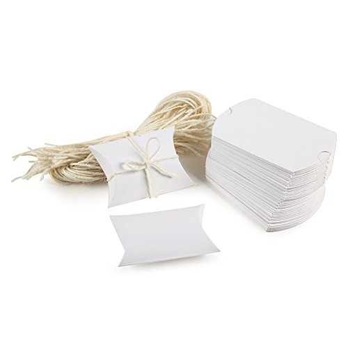 White Pillow Box with Rope 3.5x1x2.5 inch for Candy Treat Gift Wrap Box Party Favor 50pc by MOWO ()