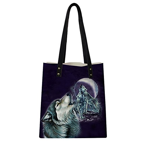 Print Shoulder Bags Summer Wolves Instantarts 5 Leather Wolf PU Tote Women Moon for Yw6qYn0xE5