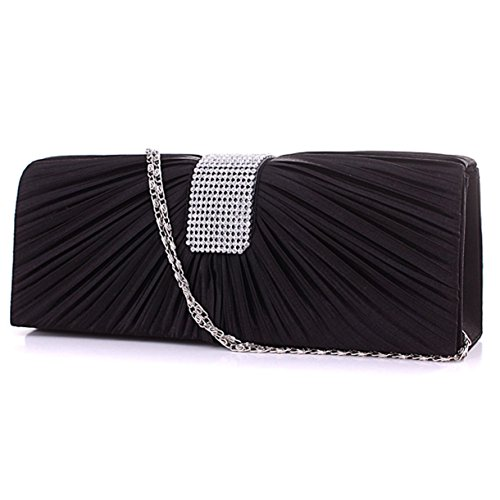 PROM Black CLUTCH WEDDING WOMENS PLEATED LADIES Black BAG NEW HANDBAG DIAMANTE BRIDAL SATIN 1wSqxH0