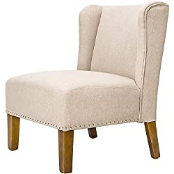 Merax Stylish Contemporary Upholstered Wingback Accent Chair with Solid Wood Legs (Beige)