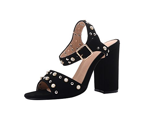 Mila Lady (SETILA Women's Glamorous Platform Stud and Pearl Embellishment Block Chunky (Ladies Black High Heel)