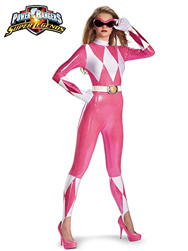 (Disguise Sabans Mighty Morphin Power Rangers Pink Ranger Sassy Womens Adult Bodysuit Costume, Pink/White,)