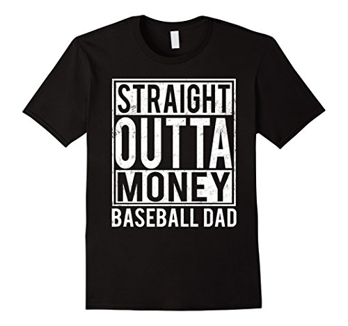 Mens Baseball Dad Straight Outta Money T-shirt 3XL Black