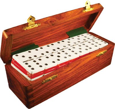 Domino Double Six Two Tone Red & White in Dovetail Jointed Sheesham Wood Box - Jumbo Tournament Size With spinners