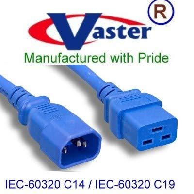 Vaster スーパーEケーブル_2I573_14-03_100_北米電源延長コード (ブルー) IEC-60320-C14 - IEC-60320-C19 14 AWG、15 A / 250V 3フィート_100個/パック B00DFN8QEQ