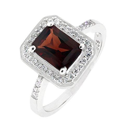 BL Jewelry Sterling Silver Emerald Cut Genuine Mozambique Garnet Ring in Halo Design (1.7 CT.T.W) ()